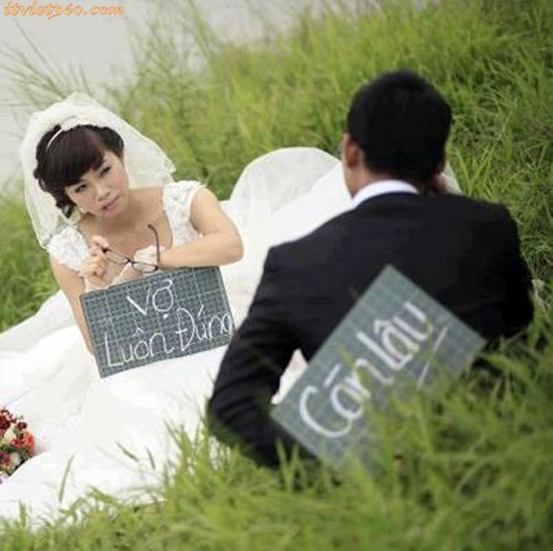 Hình ảnh tình yêu vui hài hước, vợ luôn đúng