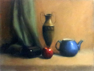 Oil painting of an apple, a blue teapot, a brass vase, a bottle and a green drape.