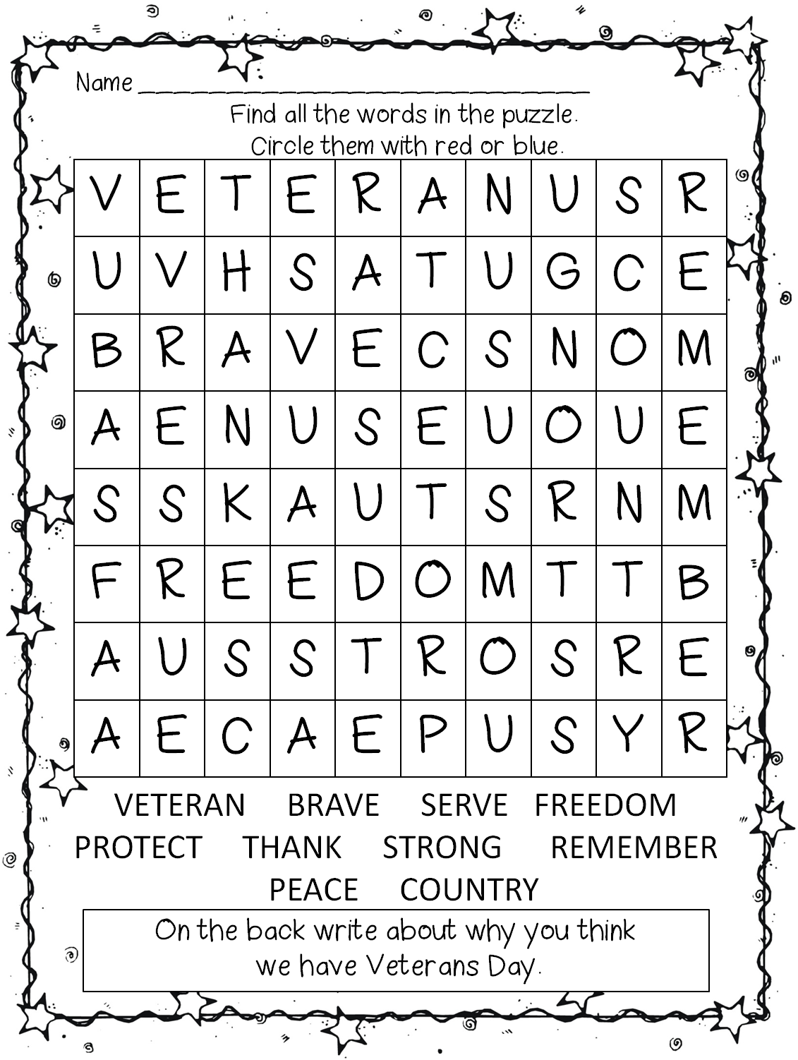 hight resolution of Veterans Day Worksheet Grade 1   Printable Worksheets and Activities for  Teachers
