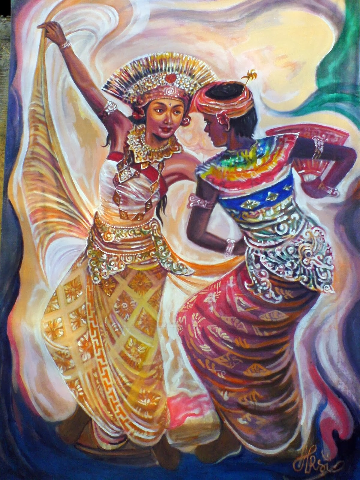 28 Karya Lukisan Tarian Bali yang Artistik  Seni Rupa