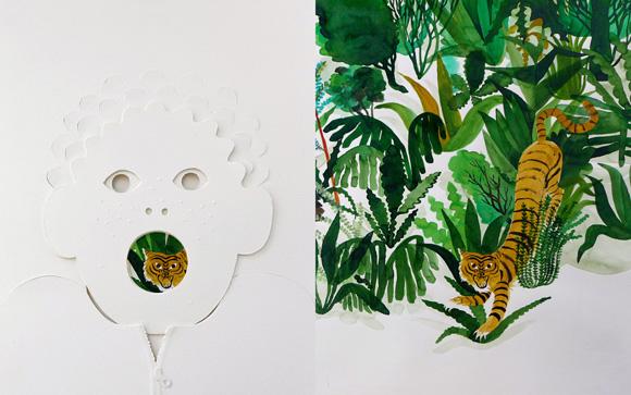Página interior con texturas y troqueles del libro ilustrado El Bosque de Riccardo Bozzi, ilustrado por Violeta Lópiz y Valerio Vidali