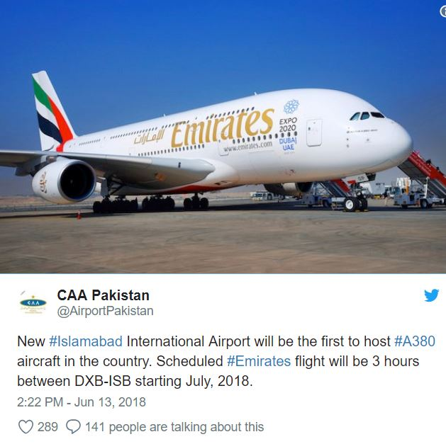 A380 Route to be Started in Pakistan from Next Month for first time .