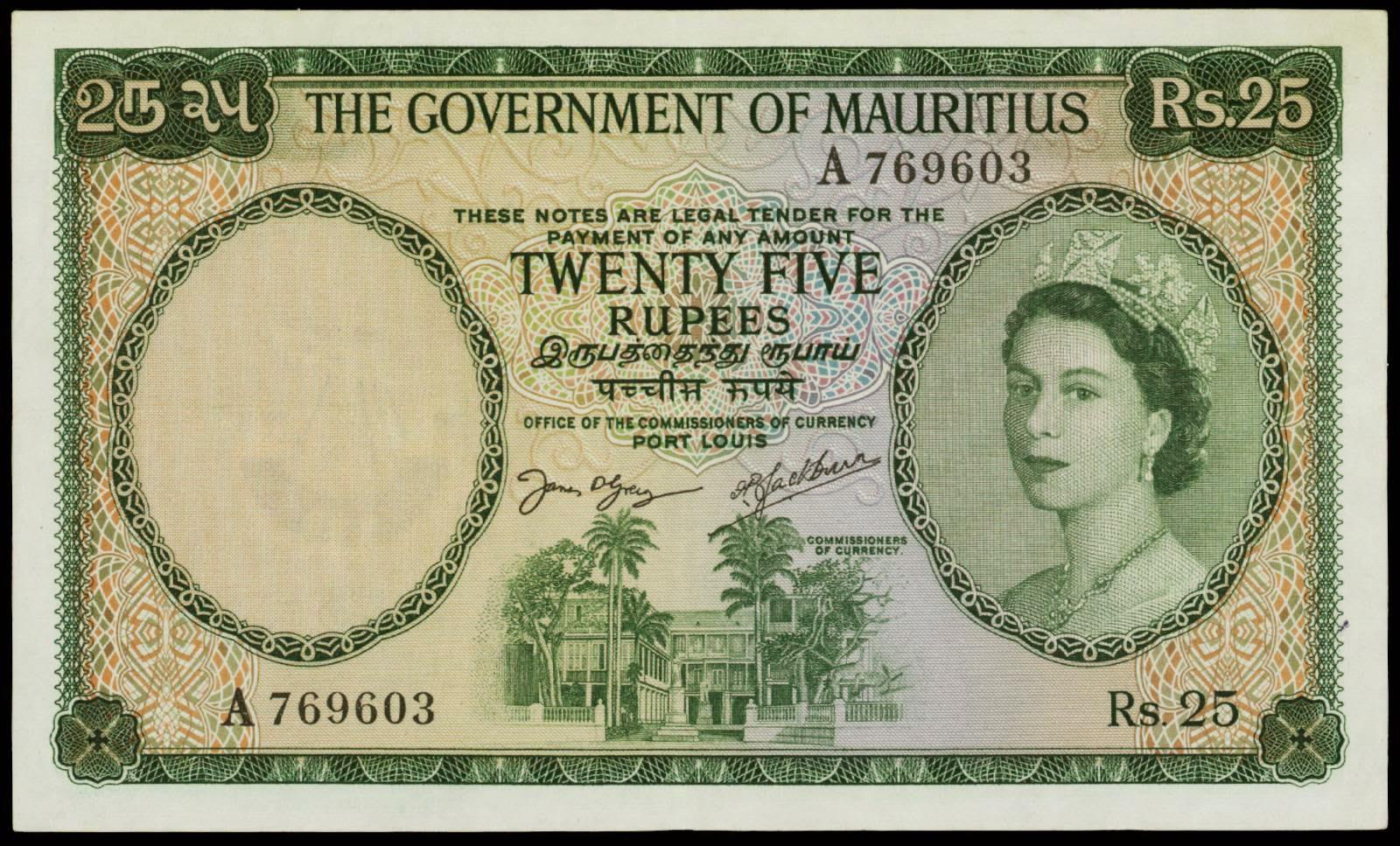 Mauritius banknotes 25 Rupees note 1954 Queen Elizabeth II