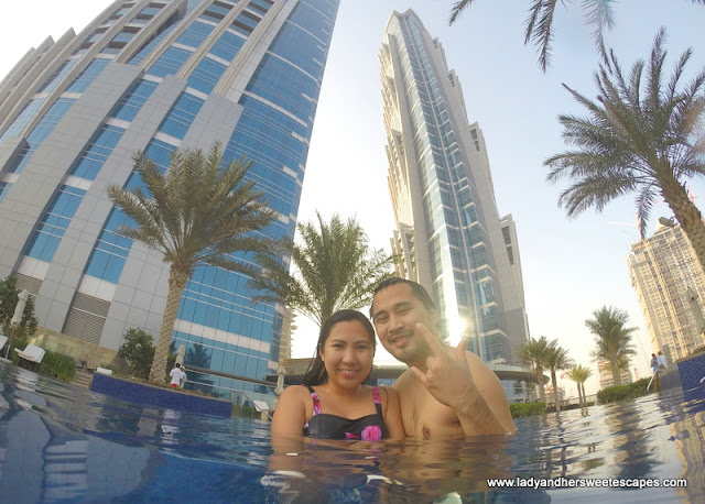 Us at JW Marriott Marquis Dubai's outdoor pool