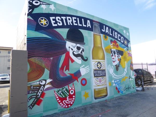 Estrella Jalisco Dia de Muertos wall mural ad