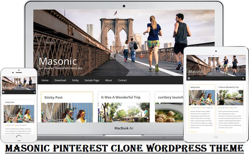 Masonic Pinterest Clone WordPress Theme Free Download
