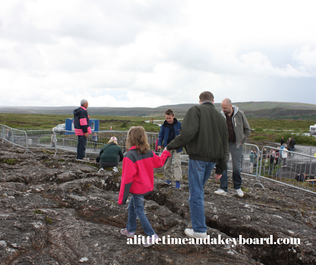 Checking out the plates splitting at Thingvellir National Park in Iceland.