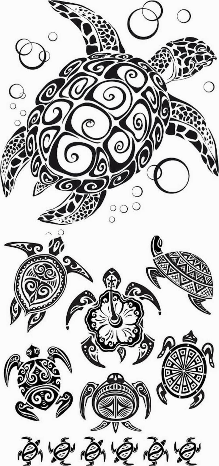 Turtles tattoo stencil