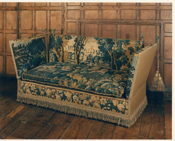 A Rare Late 18 Early 19th Century Knole Settee Upholstered In 17th Verdure Tapestry The British Antique Dealers Ociation