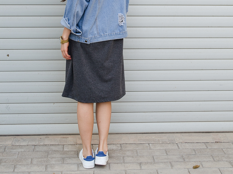 fashion blogger outfit denim jacket grey midi dress white sneakers
