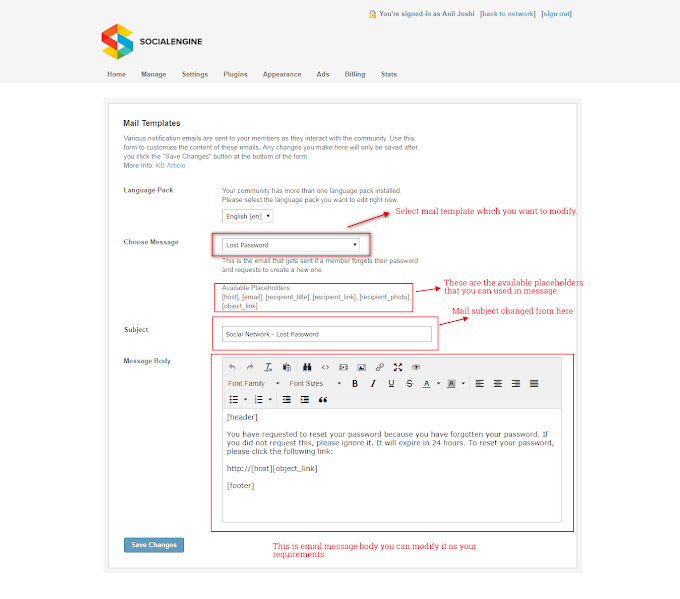 How to modify Mail Templates in social engine
