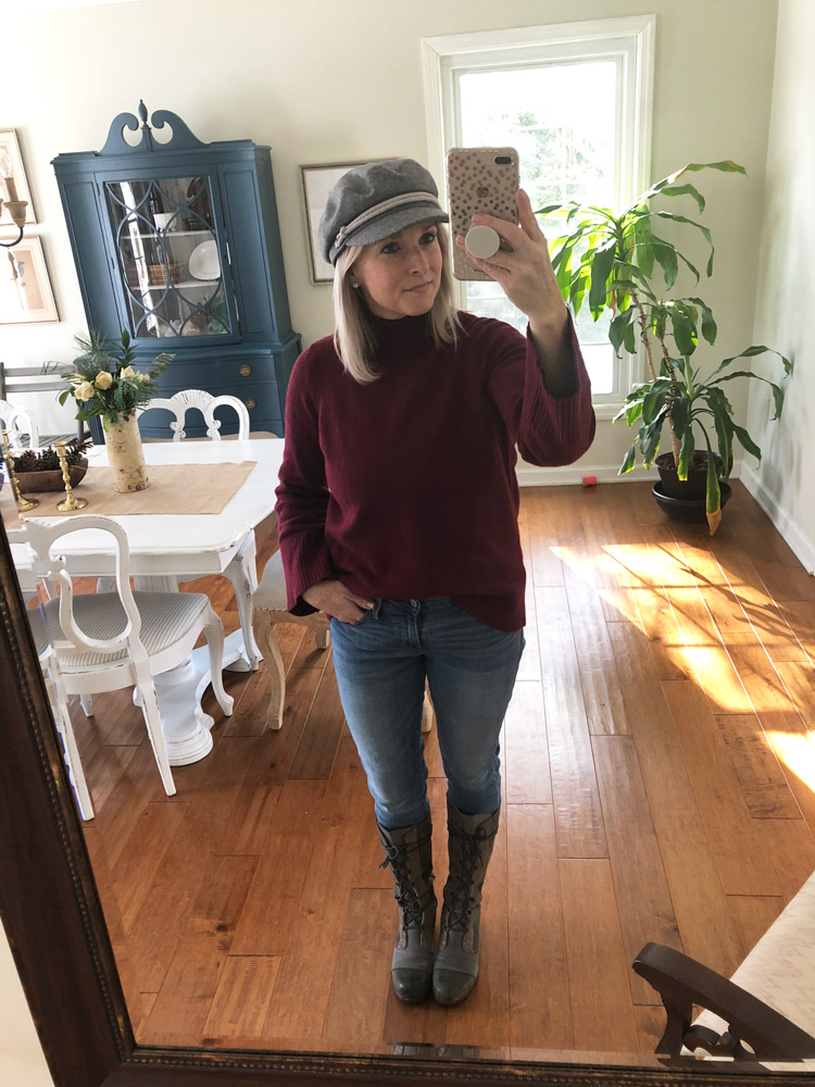 burgundy bell sleeve sweater with skinny jeans and wedge boots
