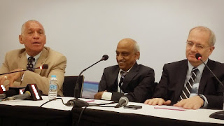 Charles Bolden, NASA Administrator (L) and Jean Yves Le Gall,  Chairman, CNES, French Space Agency (R) with ISRO Chairman, A.S. Kiran Kumar in New Delhi during 10th SPIE  Asia- Pecific Remote Sensing Symposium