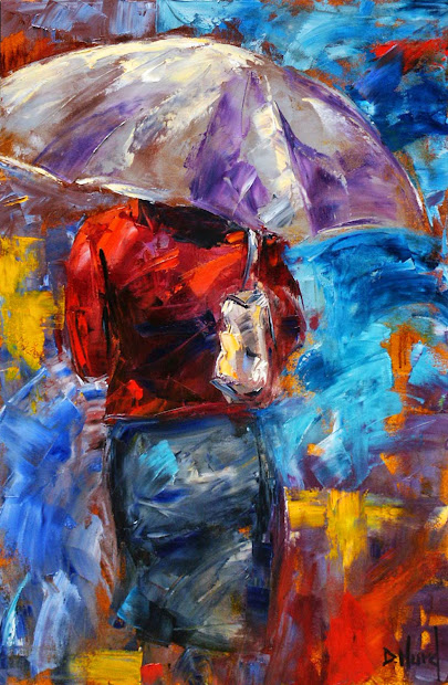 Daily Painters Of Texas Rainy City Painting Abstract
