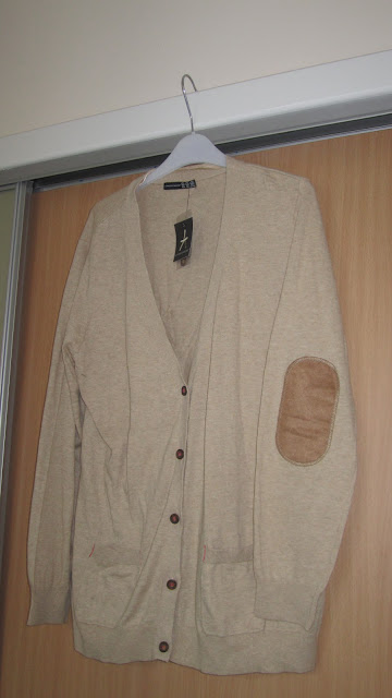 Primark Cream Tan Elbow Patch Cardigan