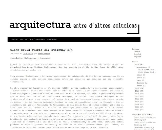 entrevista Jaume Prat Ortells del blog Arquitectura, entre otras soluciones.