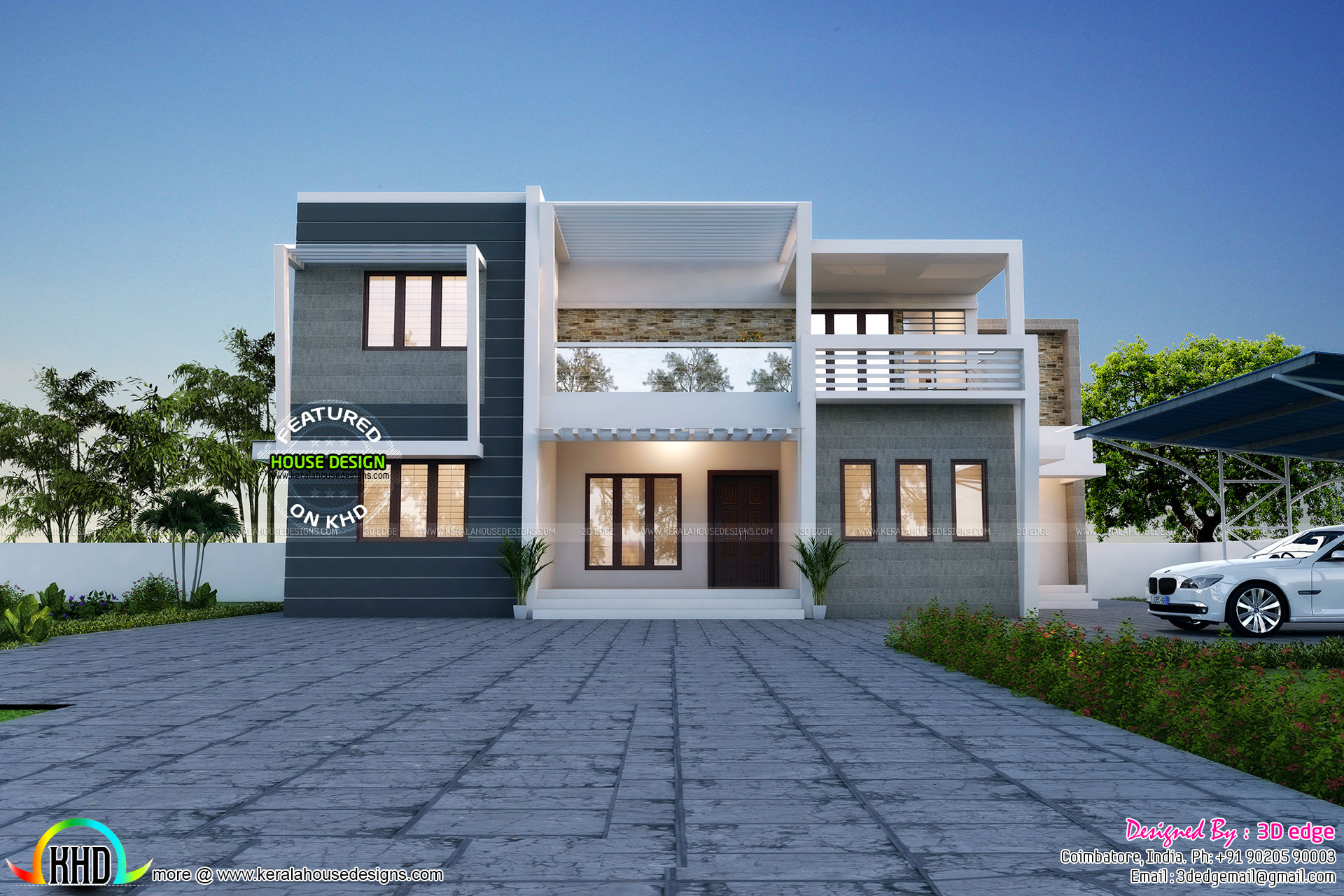Simple and elegant contemporary duplex home kerala home Simple elegant house plans