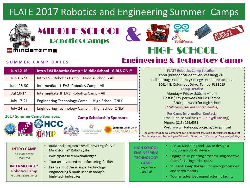 Flate Focus News Flash 2017 Robotics And Engineering Summer Camps