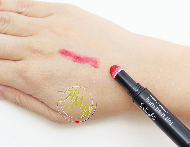 a swatch photo of Tony Moly Bam Bam Tint Delight 05 rosy red