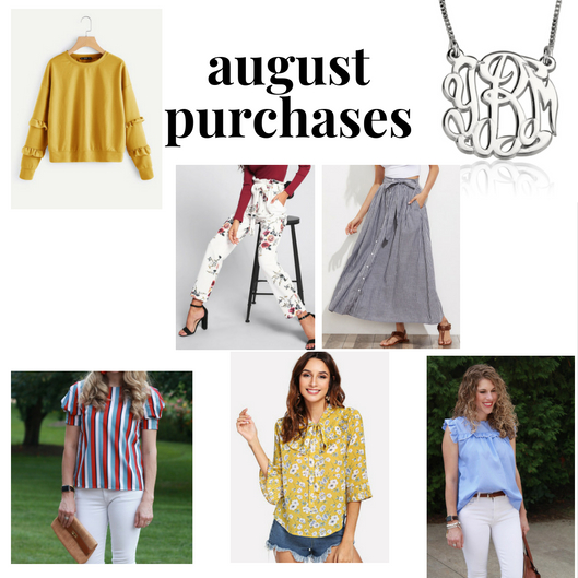 august clothing purchases