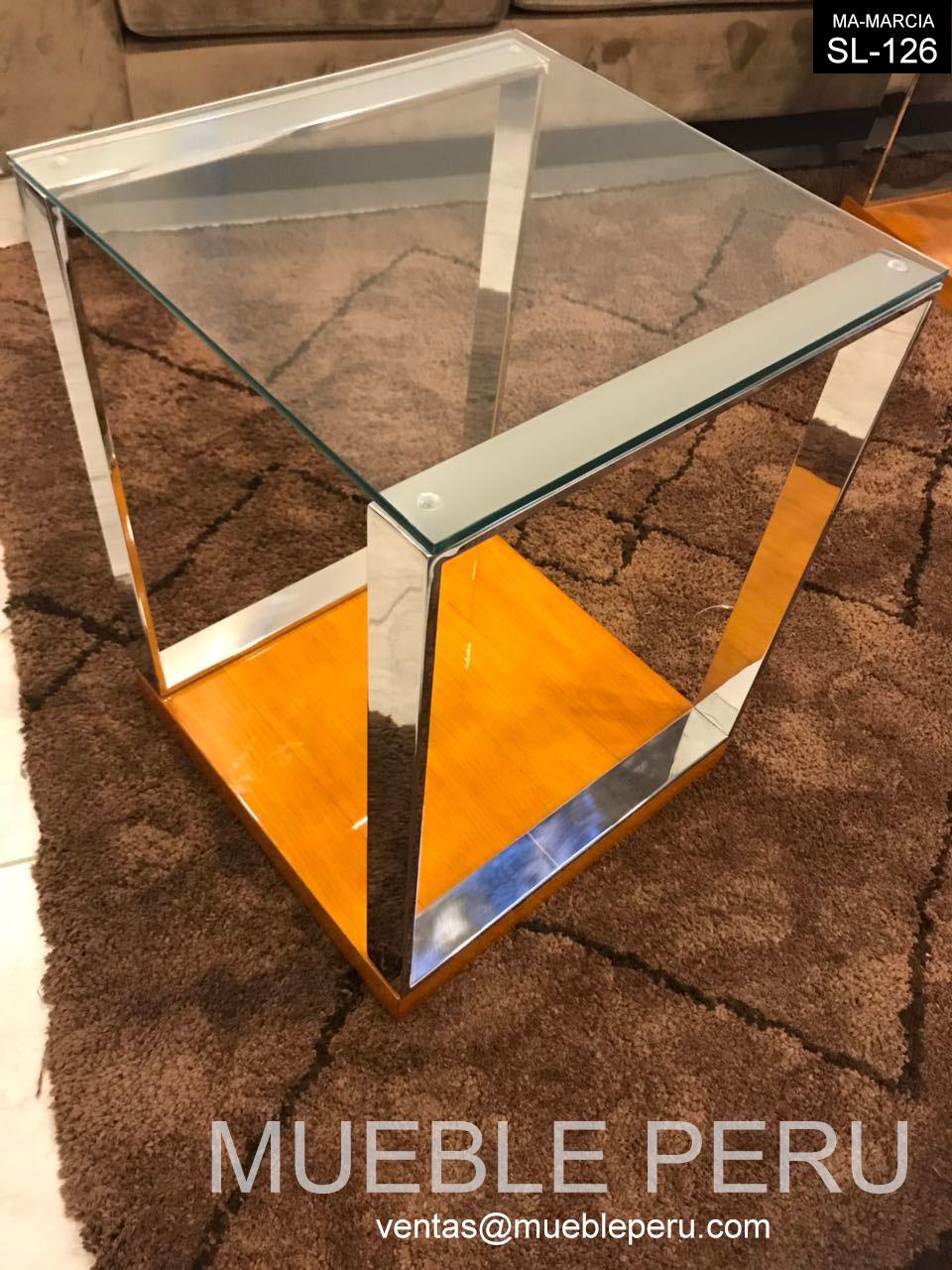 Muebles pegaso mesas auxiliares y muebles en acero inoxidable for Mesa auxiliar esquinera