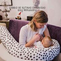 rutinas navidad bebé, dar el pecho, cojín de lactancia, cojín de maternidad, blog mimuselina