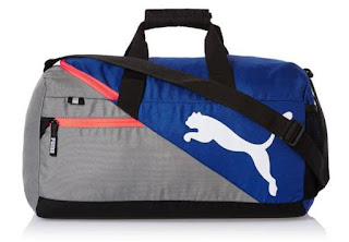 Puma Polyester 45 cms Mazarine Blue and Red Blast Travel Duffle