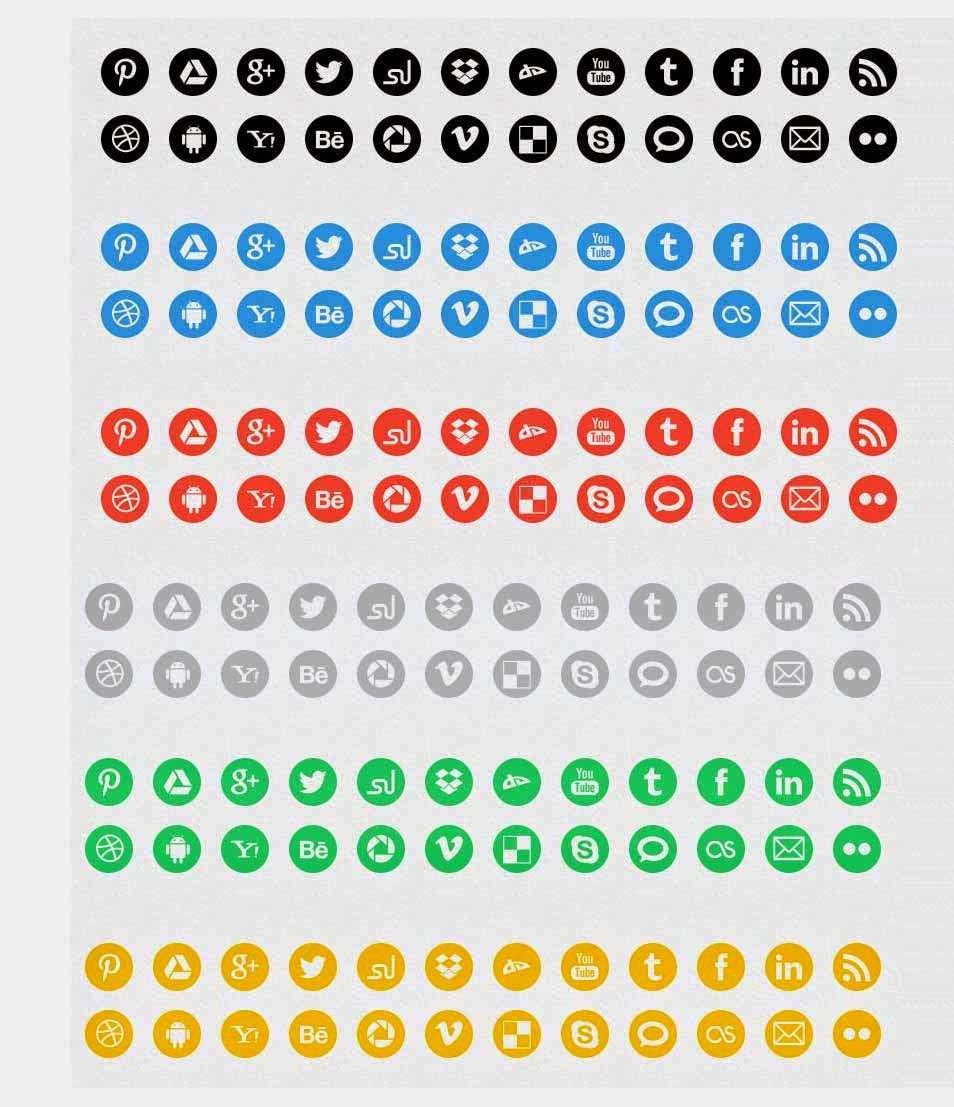 20 round social media icons in 6 colors