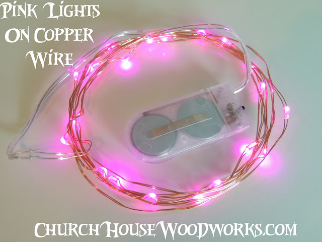 Pink Lights On Copper Wire LED Battery Operated String Lights