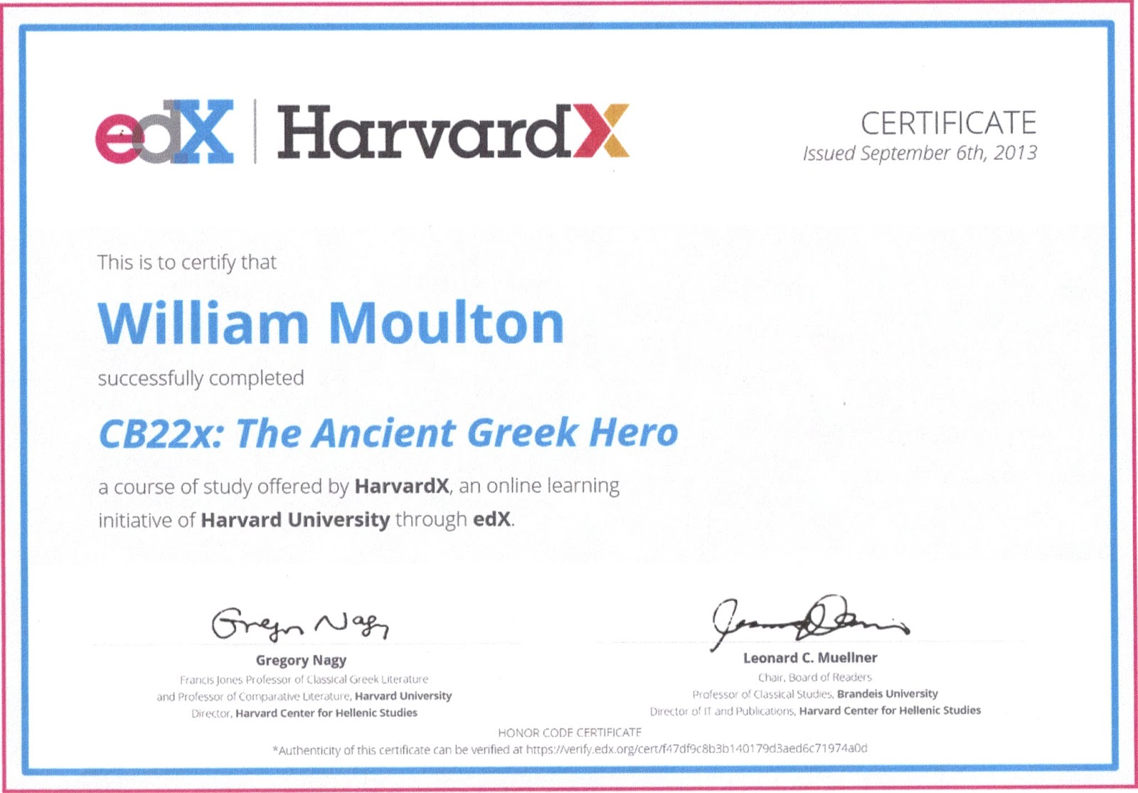 Bill\'s Greek Mythology: TFBT: Certificate of Completion!