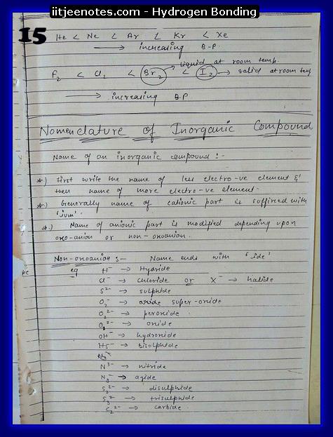Hydrogen Bonding Notes1
