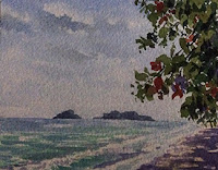 water colour painting of a seashore from Langkawi by Manju Panchal