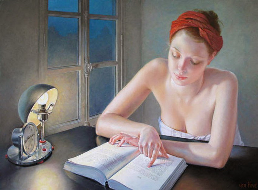 Mujer Leyendo El Libro En Blanco En El Jardín: Cuadros, Pinturas, Arte: Pinturas Artisticas De Mujeres