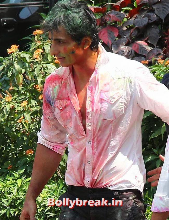 Sonu Sood, Sanjay Gupta Bollywood Holi Party Pics 2014