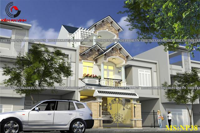 Mẫu thiết kế đẹp 2 tầng bán cổ điển mặt tiền 5m tại Long An Thiet-ke-nha-2-tang-dep-d