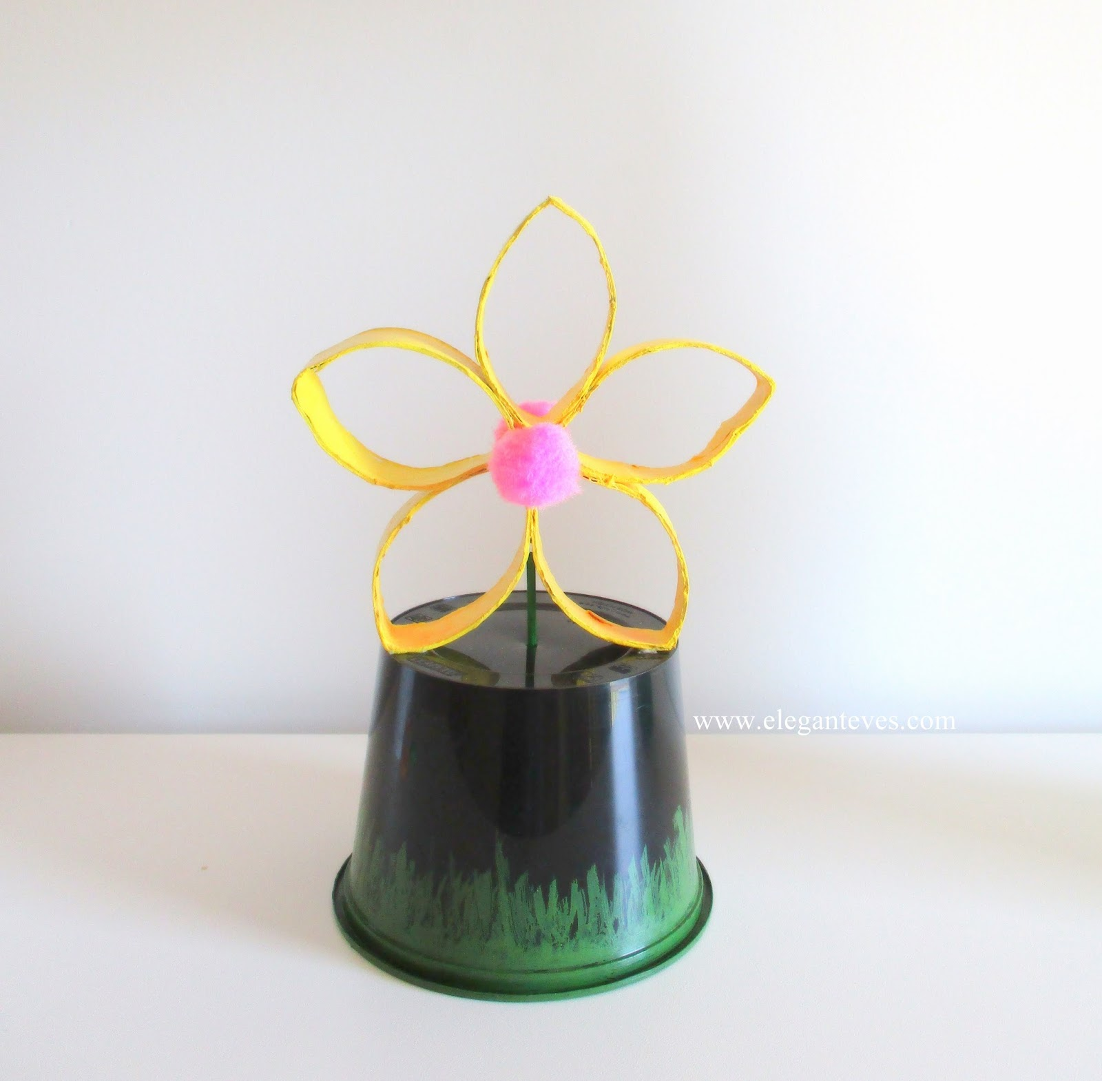 Do It Yourself Paper Roll Yellow Flower Centrepiece Elegant Eves