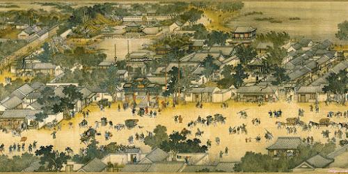 Pintura de paisagem da China antiga, com casas, rios e pessoas