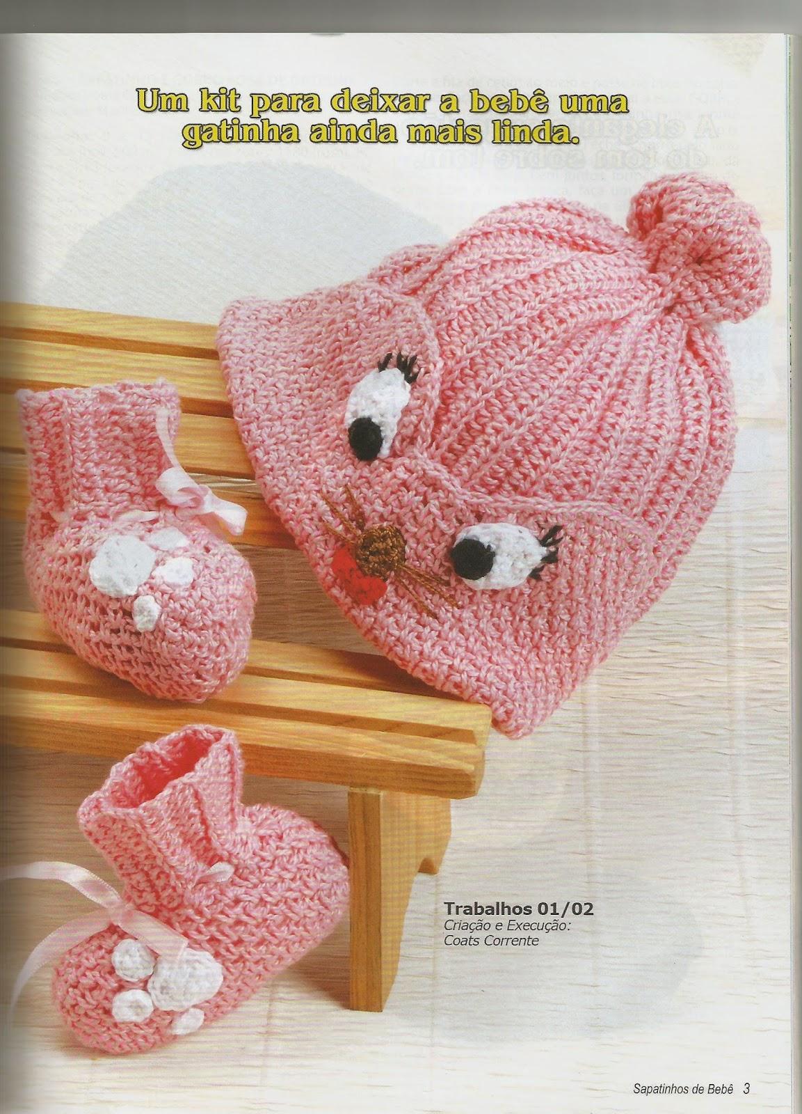 Tricotando para o Neném  Touca de tricô e crochê f80a722b91a