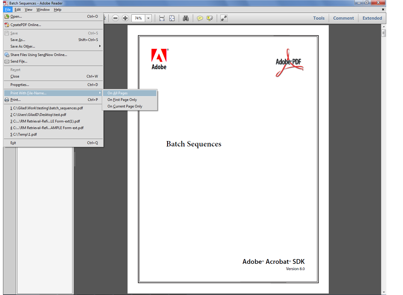 Custom-made Adobe Scripts: Acrobat/Reader -- Print PDF With File Name
