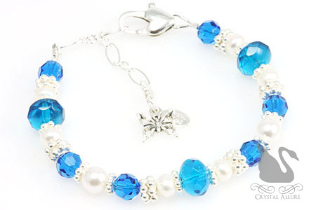 Alyssa's Custom Sweet 16 Butterfly Charm Beaded Bracelet (B163)