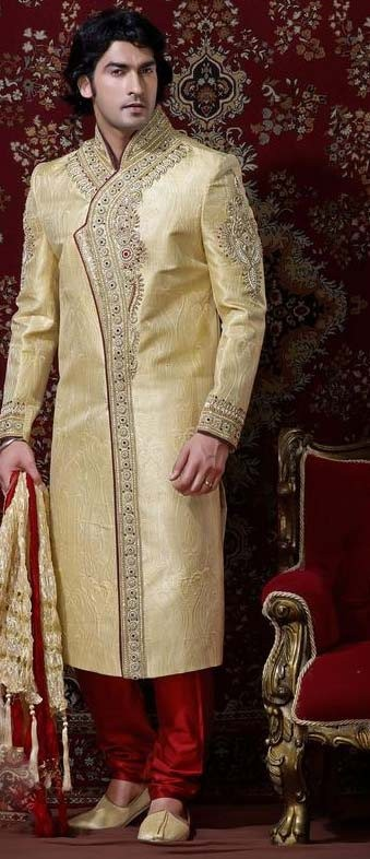 Light Gold & Red Banarsi Cotton Silk Sherwani With Churidar