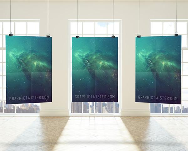 Download Poster Mockup PSD Terbaru Gratis - Premium Triple Poster Frame
