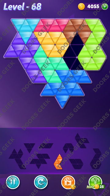 Block! Triangle Puzzle 9 Mania Level 68 Solution, Cheats, Walkthrough for Android, iPhone, iPad and iPod