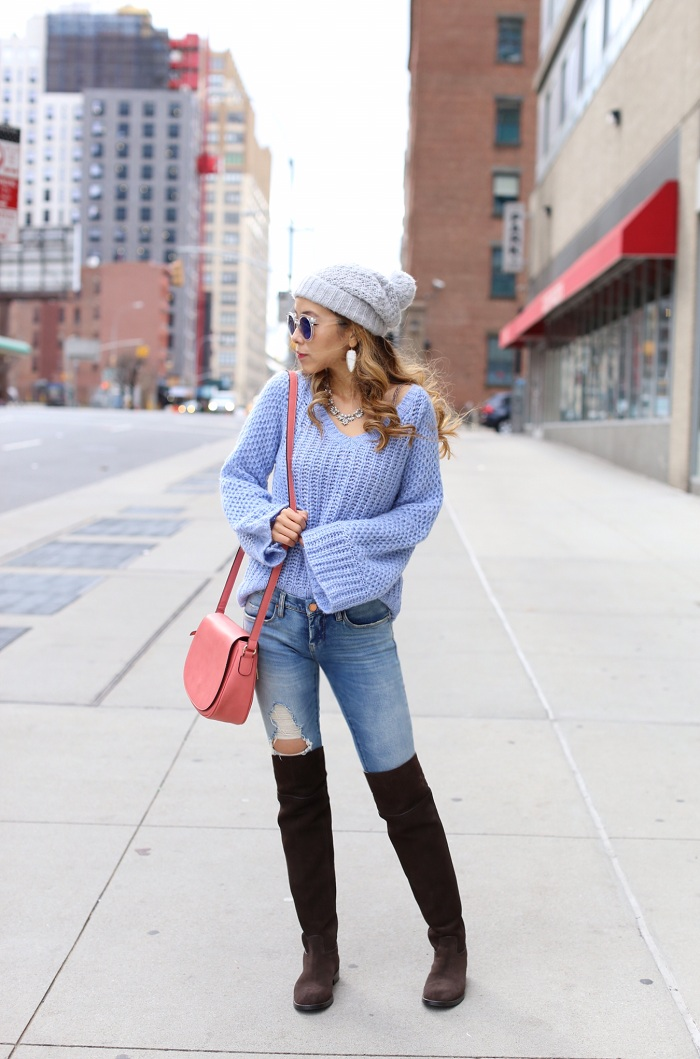 Anthropologie bell sleeve pullover, blank denim ripped jeans, pink crossbody bag, tory burch OTK boots, Asos grey pom pom beanie, baublebar necklace, kendra scott earrings, street style, 2016 color of the year, rose quartz and serenity, new york fashion blog, anthropologie tag sale