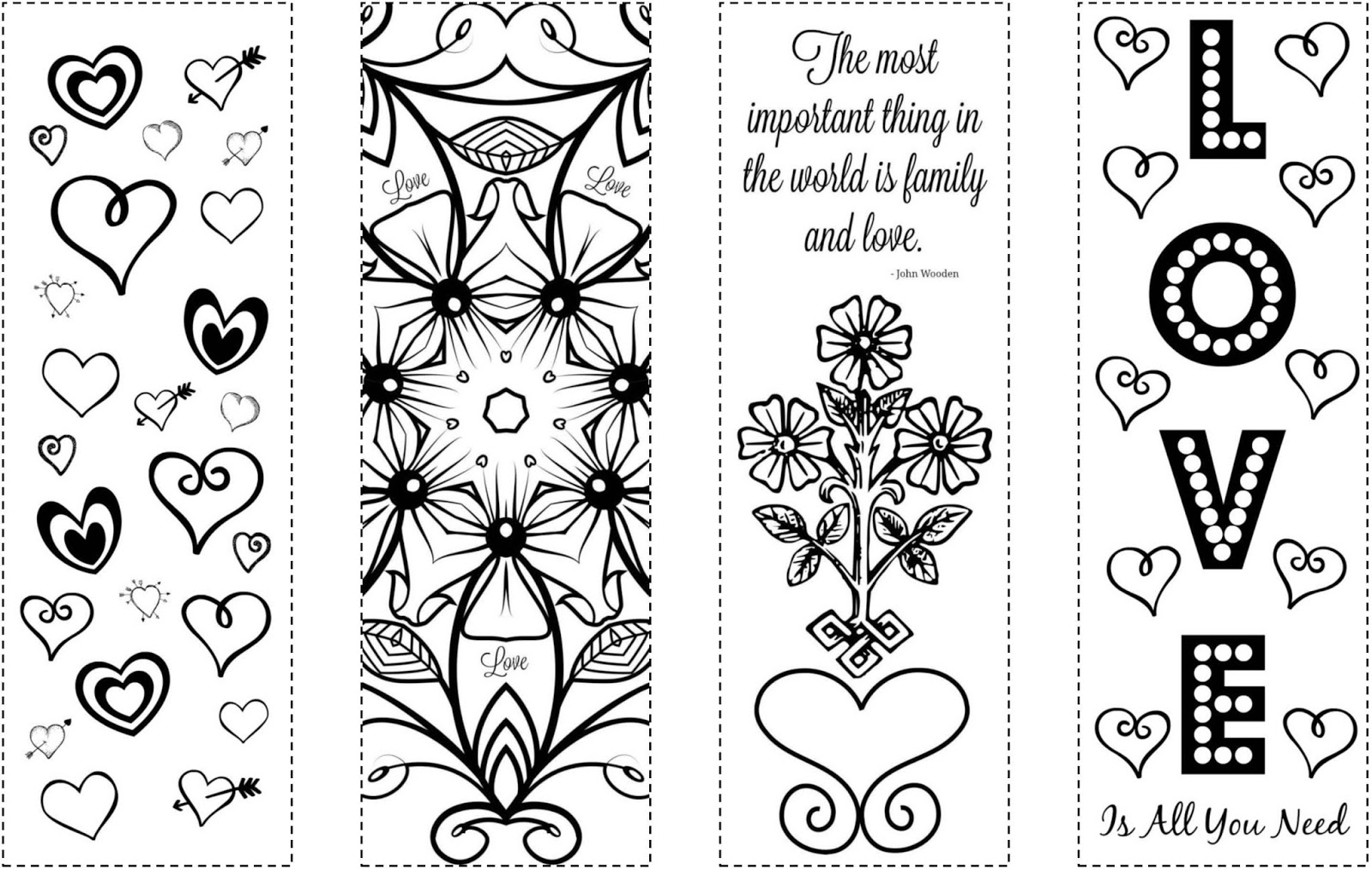 picture relating to Free Printable Bookmarks to Color Pdf identify CJO Image: Printable Bookmarks: Valentines Working day Coloring