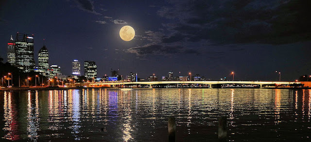 'Supermoon rises above The Narrows, on the Swan River, Perth, Western Australia.' Photograph: Gorewell/GuardianWitness