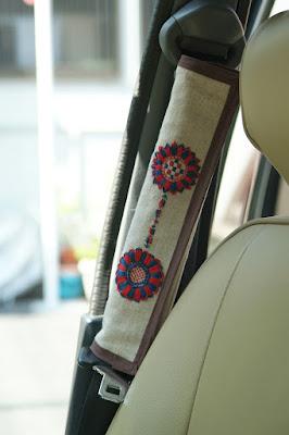ミラジーノオリジナル刺繍シートベルトカバー