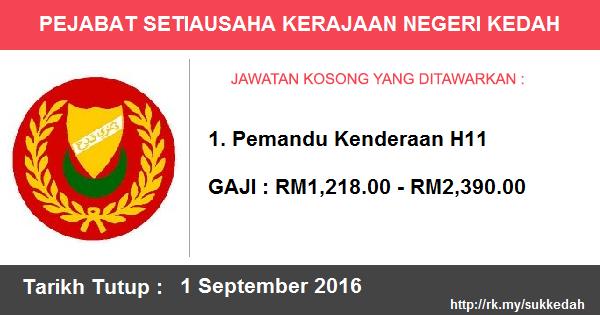 Jawatan Kosong di Pejabat Setiausaha Kerajaan Negeri Kedah