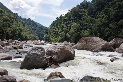 House size rocks, and hydraulics to match, Chris Baer, Colombia, Rio Caqueta