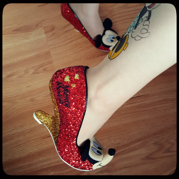 wearing Irregular Choice Oh Boy Mickey Mouse shoe